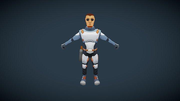 SciFi Security Guard 3D Model
