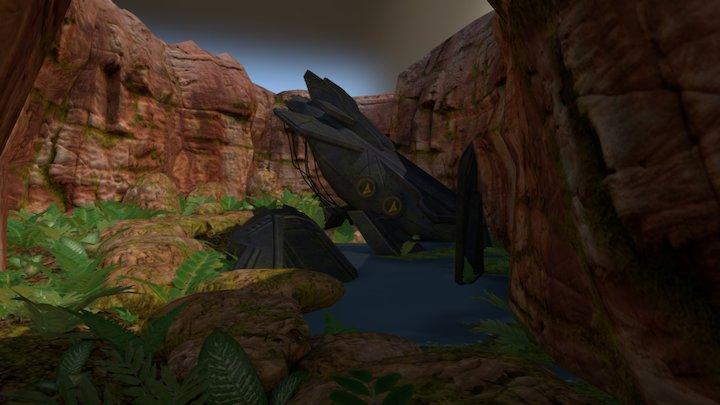Spaceship Crash Site on an alien planet 3D Model