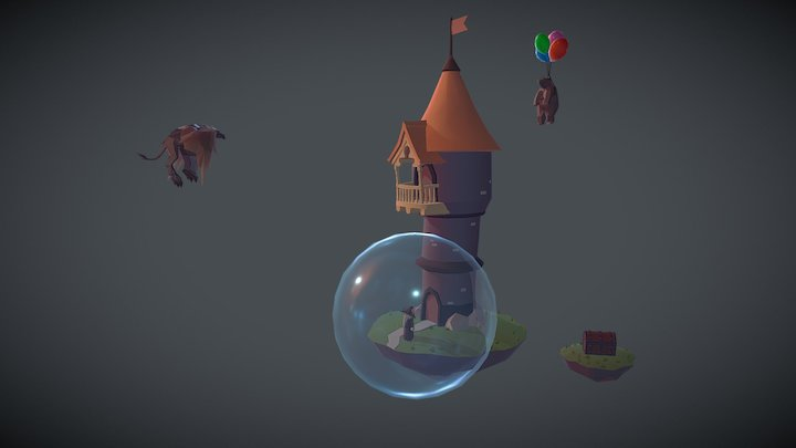 Wizard Tower Animated 3D Model