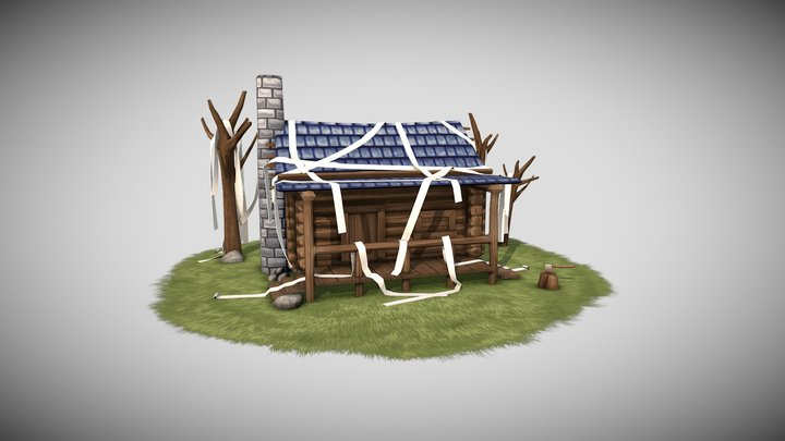 Toilet Papered Tiny Cabin 3D Model