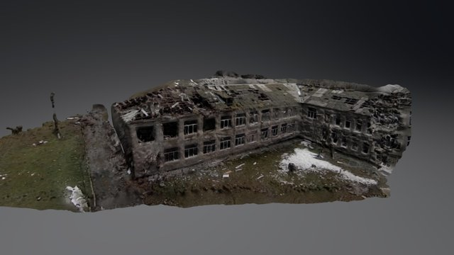 Damaged School Building 3D Model