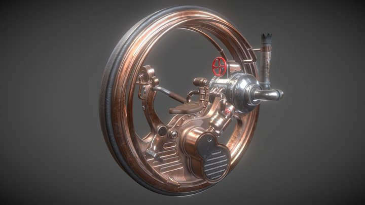 Monocycle Steampunk PBR 3D Model