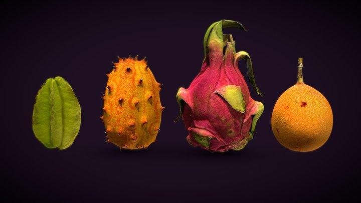 Exotic fruits pack 3D Model