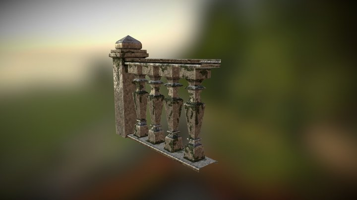 Linear Stone Bannister 3D Model