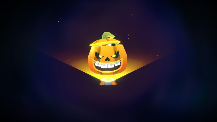 Loot Box Halloween pumpkin animated 3D Model