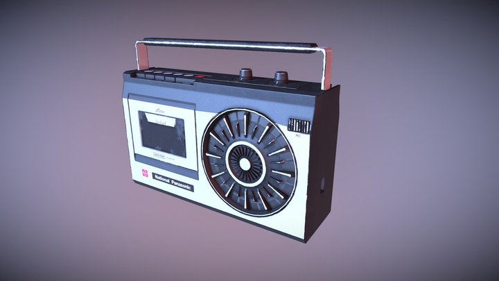 National Panasonic Cassette Player Low Poly 3D Model