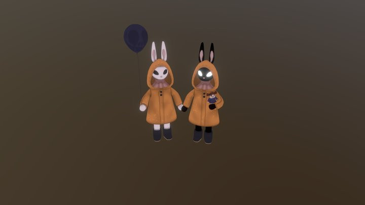 Twin bunnies 3D Model