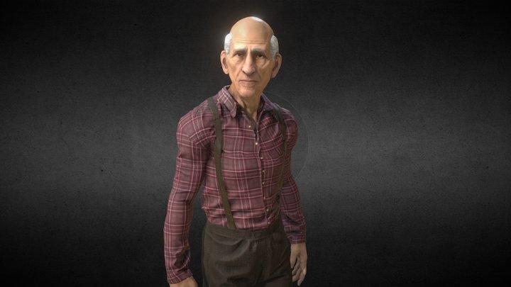 Old man Jeb - 1880s bystander 3D Model