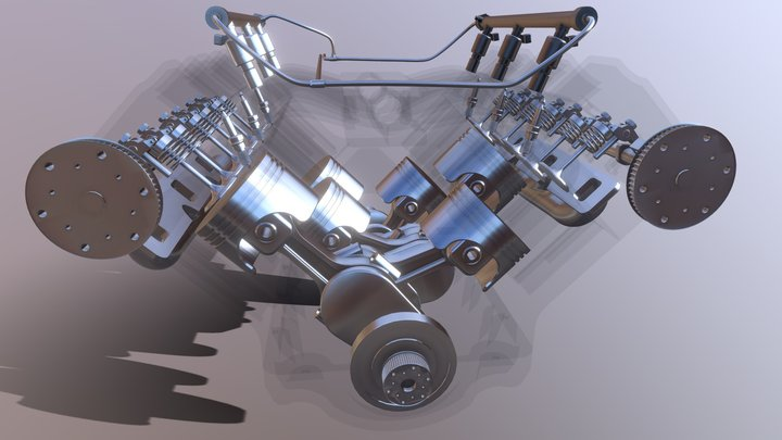 V6 Car Engine - Fully Rigged and Animated 3D Model
