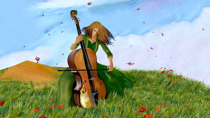 Girl playing the cello 3D Model
