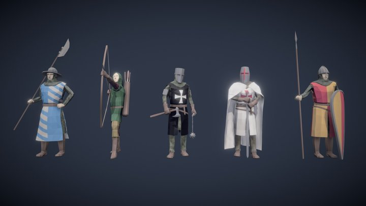 Stylized Medieval Characters 3D Model