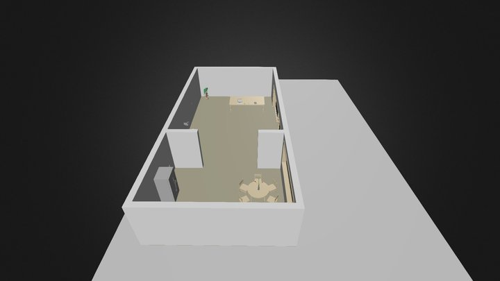 Living room + kitchen 3D Model