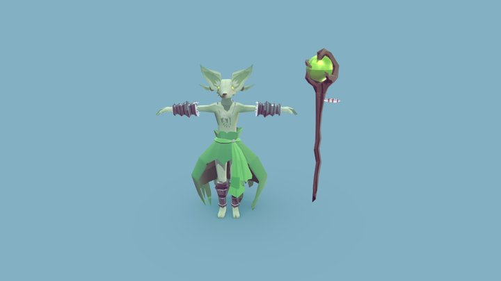 Mage Fox Character 3D Model