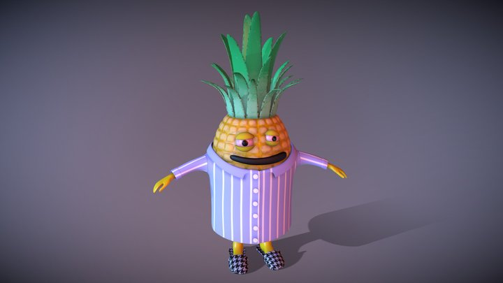 Sleepy Pineapple Man 3D Model