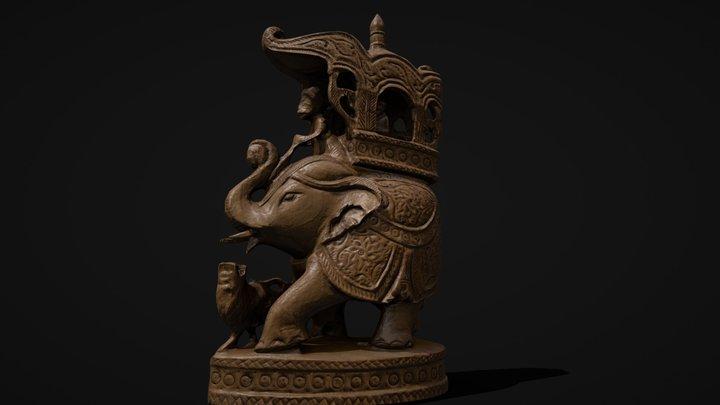 Wooden Elephant Scan | Game-ready asset 3D Model