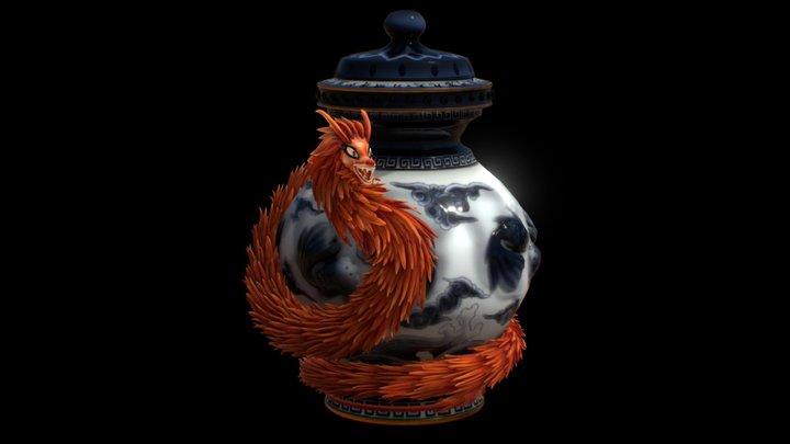 Serpent Dragon Vase 3D Model