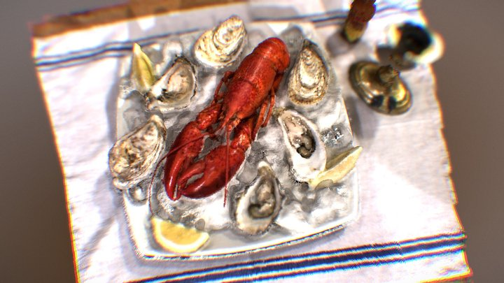 Lobster and oysters 3D Model