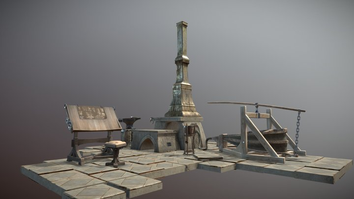 Haunted forge (animated) 3D Model