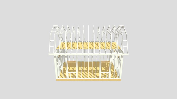 16x24 Gambrel Barn 3D Model