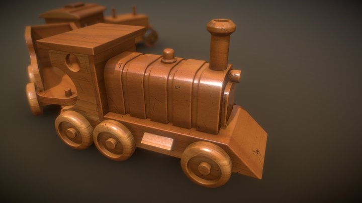 Wooden toy Train 3D Model