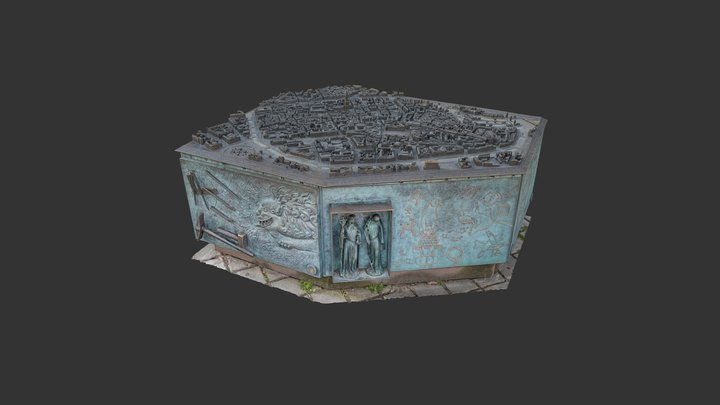 Point de Convergence - Plan relief 3D en bronze 3D Model