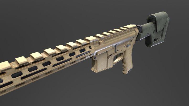 AR15 - Long Barrel 3D Model