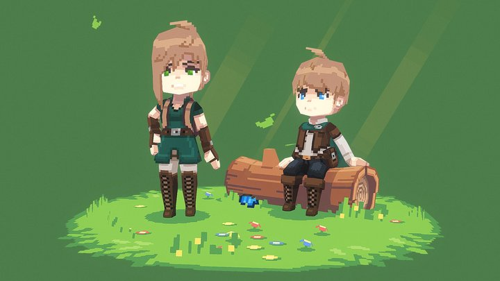 'Adventurer's Glade' - Lowpoly Pixel Scene 3D Model