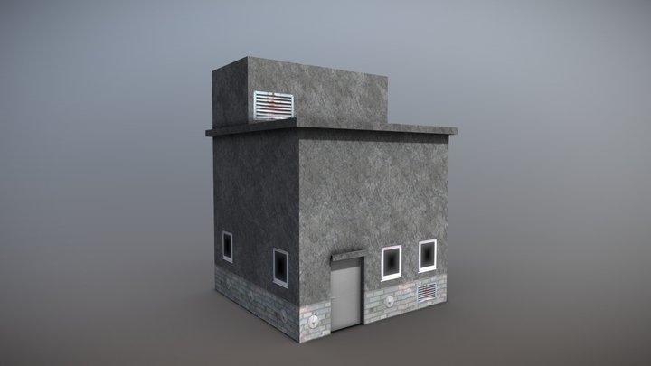 LowPoly Industrial District Haus 3D Model