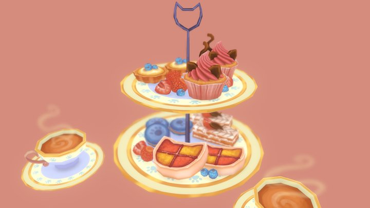 Cat themed afternoon tea 3D Model