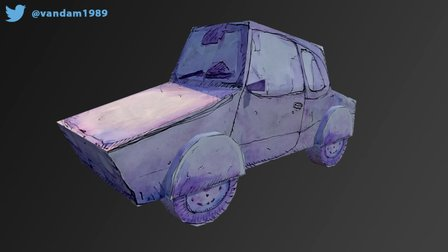 Watercolour Painted Car 3D Model