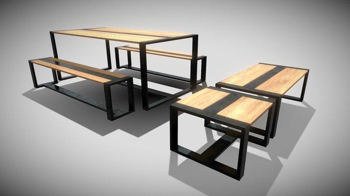 Tables & Bench (Blend File, OBJ, DAE) 3D Model