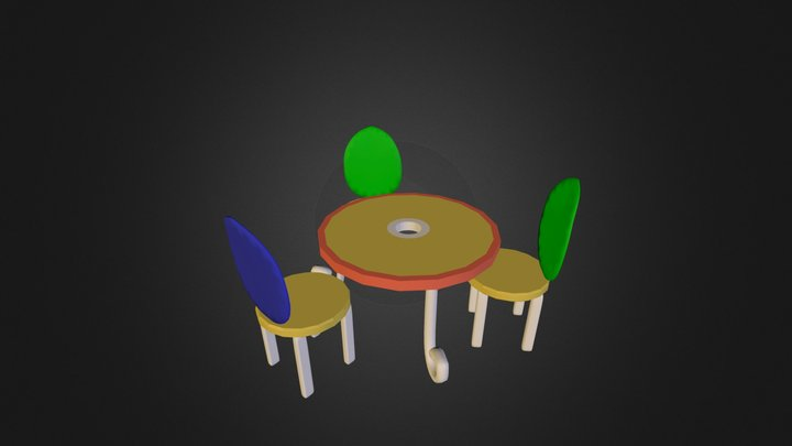Table and 3 Chairs.FBX 3D Model