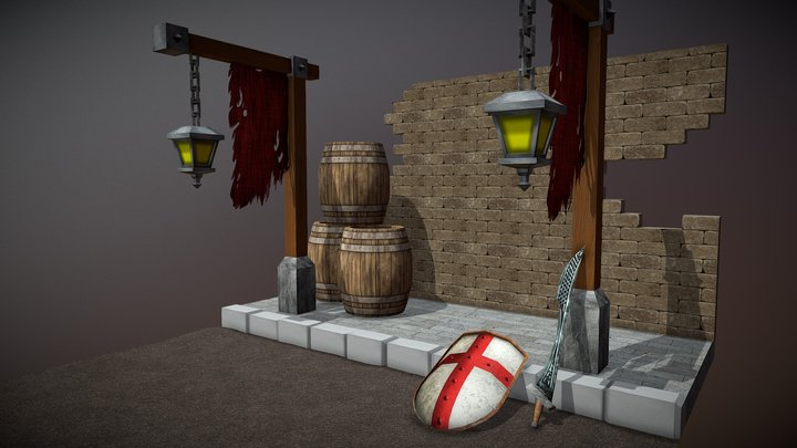 Medieval Bay and Street 3D Model