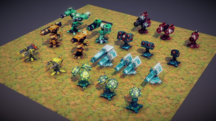 Tower Defense Towers 3D Model