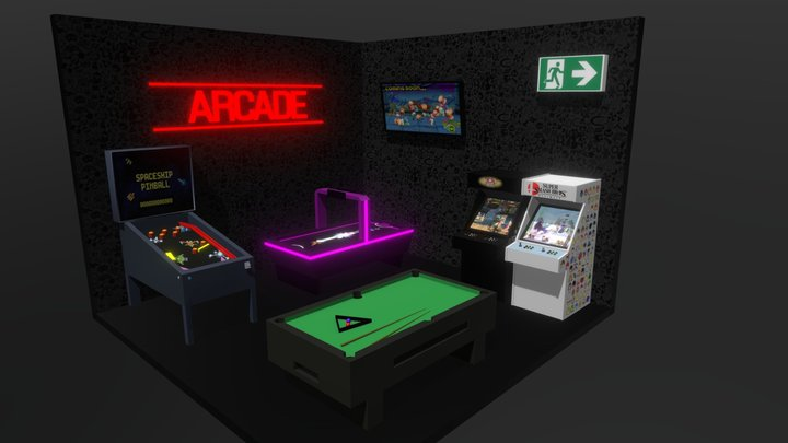 Arcade Room (Low Poly Theme) 3D Model