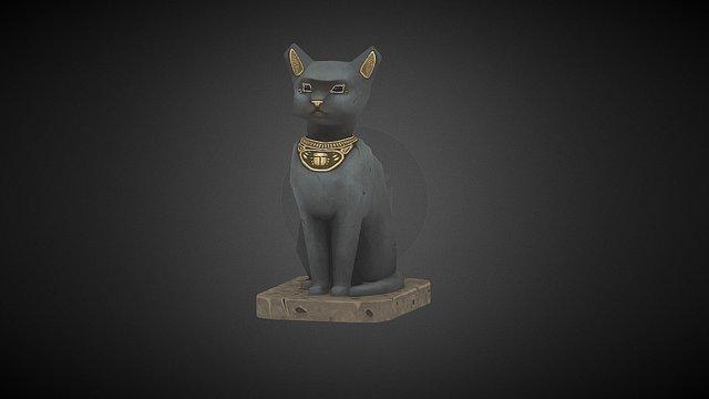 Lowpoly Cat Statue 3D Model
