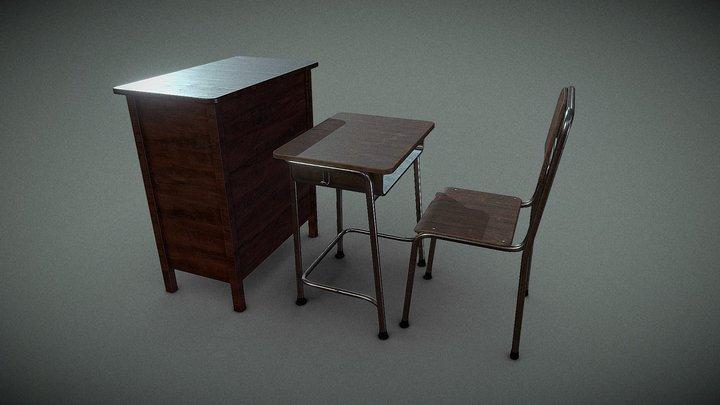 Student Desk and Teacher Desk 3D Model