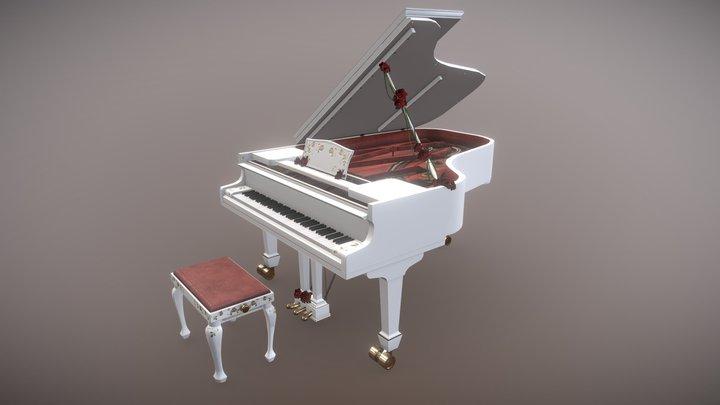 White Grand Piano 3D Model