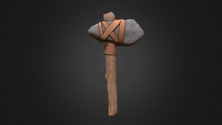 Primitive stone axe 3D Model
