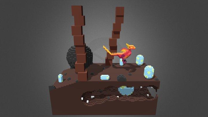 Fan Art | Voxel | Dino Run 2 - End Scene 3D Model