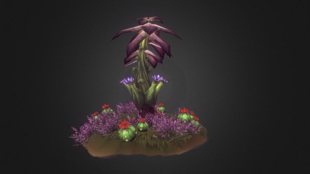 Tropical Cactus in Bloom 3D Model