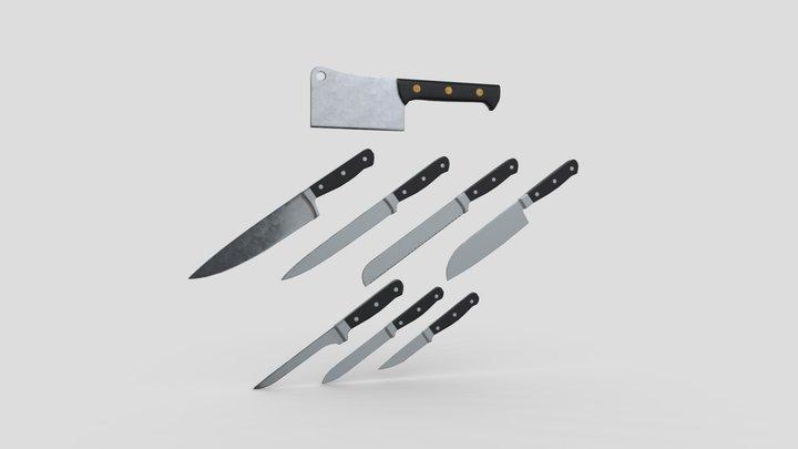 Kitchen Knife Pack 3D Model