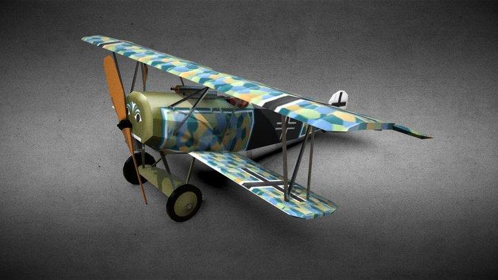 Fokker D.VI WW1 fighter (free model) 3D Model