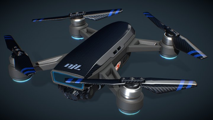 Carbon Fiber Drone - Unmanned Aerial Vehicle 3D Model
