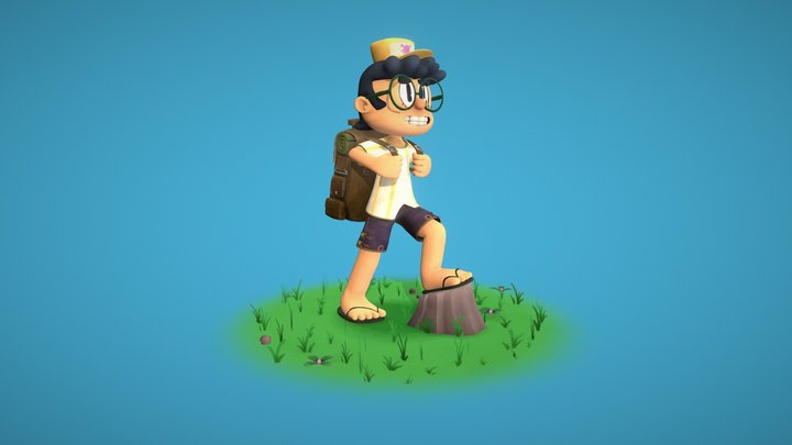Ready-to-Rig Cartoon Kid Character 3D Model