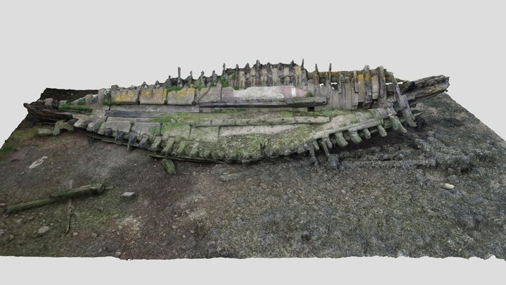 Remains of ship in Hooe Lake Plymouth UK 3D Model