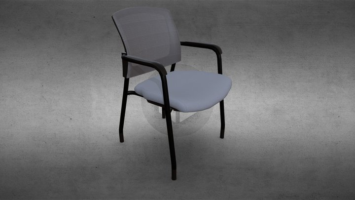424 Mesh Back Fabric Seat 4-Leg Guest Chair 3D Model