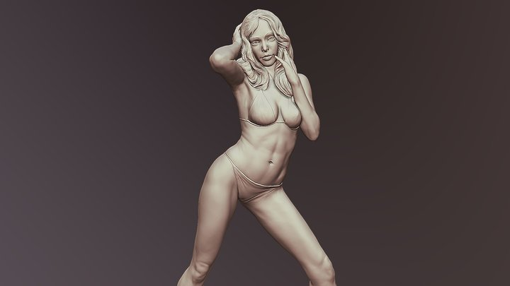 Posed Realistic Woman Printable 3D Model