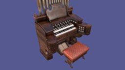 Vintage Old Pump Pipe Organ 3D Model