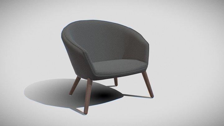 Ditzel Lounge Chair-fabric black 3D Model